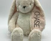 BOTH EARS | Personalized  bunny | baby shower gift | stuffed bunny | Easter Basket | baby boy gift | baby girl gift | embroidered bunny