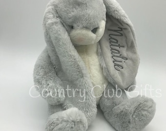 Personalized  bunny | Personalized baby shower gift | stuffed bunny | stuffed animal | Easter Basket | baby boy gift | baby girl gifts