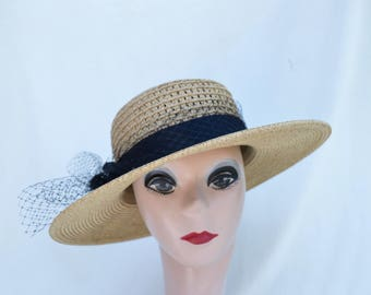 Straw Boater Hat With Black Trim And Netting / Straw Boater Hat / Women's 3 Inch Brim Straw  Hat / Retro Style Summer Straw Brim Hat