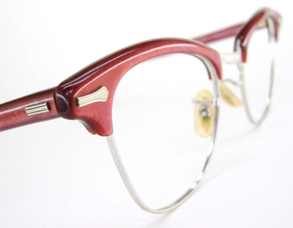 ed70d77e89 Vintage Red Cat Eye Glasses Sunglasses Eyeglasses Frame Shuron 12Kt ...