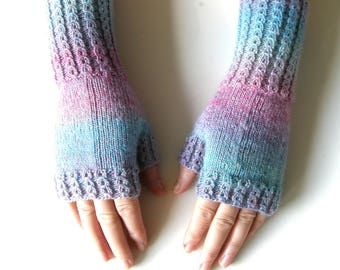 Long Fingerless Mittens, size S/M