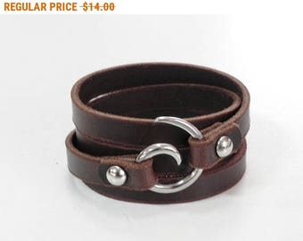 Brown Leather Wrap Bracelet Leather Cuff with Spiral Stainless