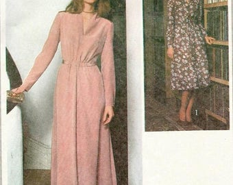 ChristmasinJuly Vintage 70s Simplicity 8662 UNCUT Misses Evening or Day Dress with Elastic Front Waist Sewing Pattern Size 14 Bust 36