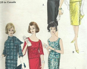 ChristmasinJuly Vintage 60s Vogue 5400 Misses Two Piece Dress with Wrapped Skirt and Neckline Variations Sewing Pattern Size 14 Bust 34