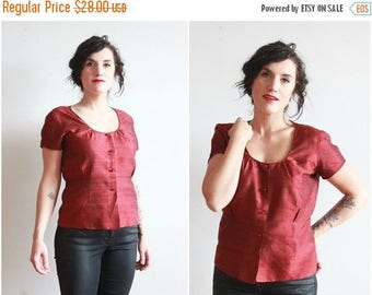 """SALE 1950s blouse   50s handmade red silk blouse   size m - l bust 38"""""""