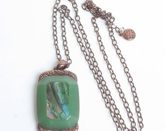 Abalone Shell Green Lucite Pendant Necklace Copper Tone Metal Vintage Signed