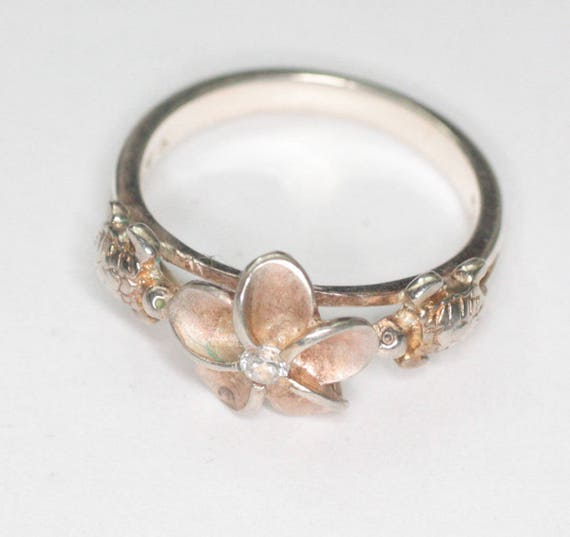 Plumeria Blossom Turtles Sterling Ring Hawaiian Islands Size 5 and Half