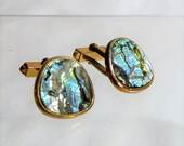Sale 15% Unisex Cuff Links Abalone Shell Gold Stunning 1950's