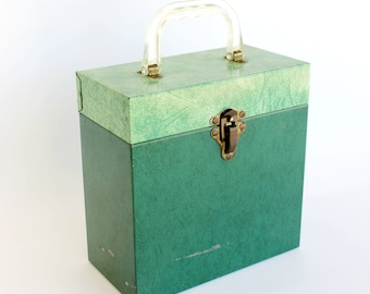 Vintage Record Case Box 45 RPM Green Metal Mid Century Storage Vinyl Lover Gift