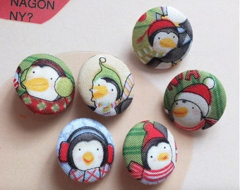 Lovely Winter Christmas Music Playing Green Red Colourful Penguin Family-Handmade Fabric Covered Buttons(0.87 Inches, 6PCS)
