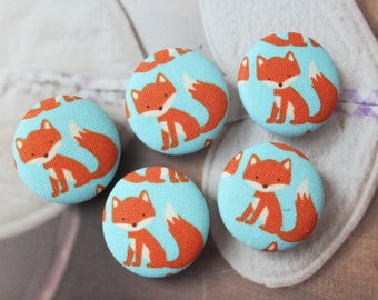 Lovely Summer Color Orange Baby Fox Animal On Sky Blue-Handmade Fabric Covered Buttons(1.1 Inches, 5PCS)