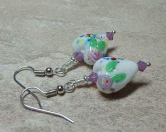 FREE SHIPPING, Purple White Heart Earrings, Lampwork Earrings, Swarovski Crystals, Spiritcatdesigns, Gift for Her