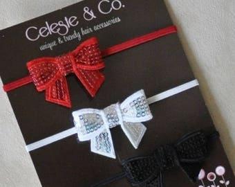 SUMMER SALE Christmas Headband Set - 3-Pack Christmas Headbands - Baby Headband - Infant Headband - Toddler Girl Headband - Mini Sequin Bows