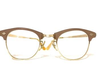 Gold CatEye Glasses Frame Sandy Tan Blonde Browline Vintage 50s Cateyes Cat Eye Brown Combination 1/10 12k Metal