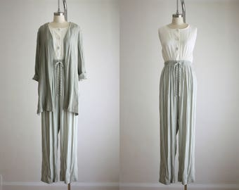sage stripe jumpsuit & jacket