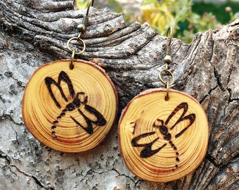 Dragonfly Earrings, Pine Wood Earrings, Wood Burned Tree Slice Earrings, Boho Earrings