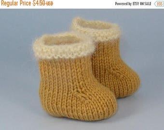 50% OFF SALE Digital pdf file Knitting Pattern -Baby Simple Fur Trim Booties (Boots) knitting pattern- MADMONKEYKNITS