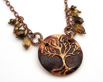 Earthtones Tree of Life necklace, antiqued copper chain, brown Boho jewelry 20 3/4 inches long