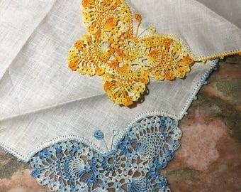 Christmas Sale Vintage BUTTERFLY Handkerchief Hankie Pair Crocheted Blue Yellow Irish Linen Crochet Cotton Butterflies Lady Erin