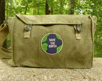 Save the Earth! Trendy Vintage Czech Canvas Military Messenger Bag.