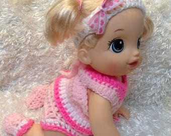 14 Inch Doll clothes . Pink Set.