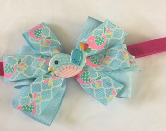 Blue girls boutique  hair bow bird  bow toddlers  headbands