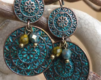 Ethnic copper disc earrings