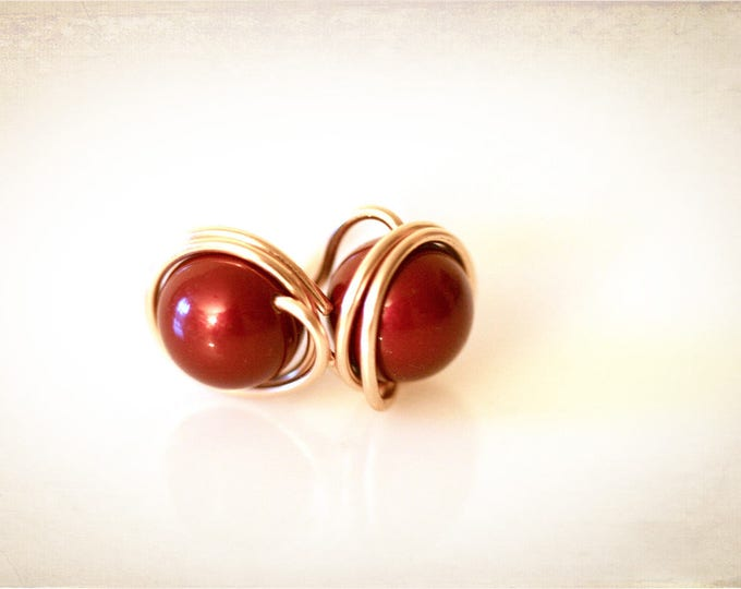 Burgundy Red Crystal Pearl Post Earrings. Wire-Wrapped Stud Earrings. Caged Pearl Bridesmaid Jewelry