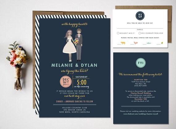 Wedding Invitation Custom portrait wedding invitation
