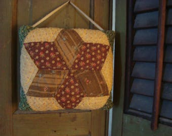 Antique Early 1900s Star Quilt Pillow ~ To hang or prop