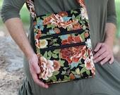CUSTOM black and white scroll fabric crossbody zipper purse with solid black lining