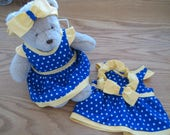 Two Blue & Yellow Bear Dresses with Headband Bows