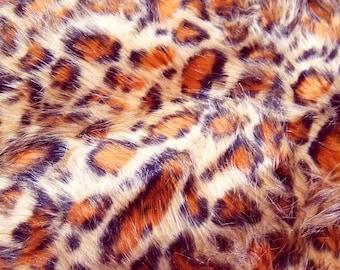 """Leopard Long Pile Faux Fur Fabric - 30"""" WIDE x 35"""" LONG"""