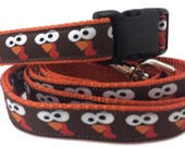 Thanksgiving Dog Collar and Leash, Turkey Faces, 4ft long, 1 inch wide, adjustable, plastic buckle, metal buckle, chain, martingale, hybrid