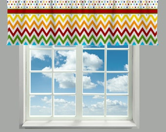 Custom Window Curtain or Valance, Rainbow Multi Color Dot & Chevron, Band accent Any Colors - Perfect for Classrooms