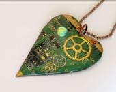 Steampunk  jewelry circuit board  heart pendant for a geek - watch parts gears - dichroic glass