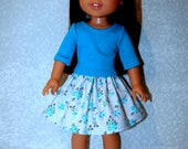 Skirt t-shirt handmade for 14.5 inch Wellie Wishers Gray flowers Turquoise - Doll Clothes rts  tkct1212 READY TO SHIP