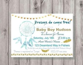 ON SALE Digital Dream Catcher Dreams do Come True Baby Boy Blue & Gold Shower Invitation Printable