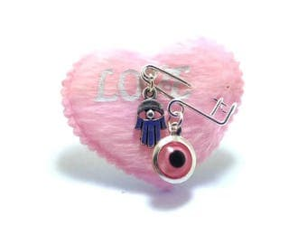 Evil eye Heart safety pins, martyrika, baby shower favors, Christening, Baptism for baby girl