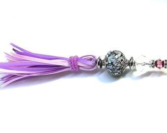 Christmas gift Tassel purple and pink Silk Ribbon for necklace or purse ~ crystal beads and faux pearls~ 51/2 inches