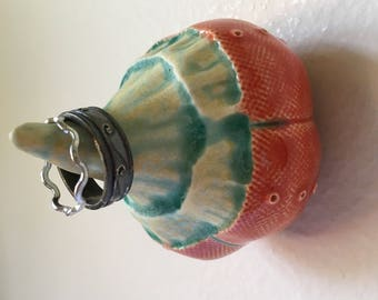 Orange Red and Turquoise Gold  Ceramic Sprout Wall Art Jewelry Ring Holder Pod 9