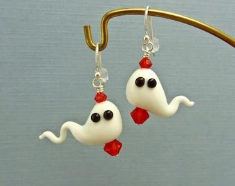 Ghost Earrings - Orange - Lampwork Glass Beads SRA