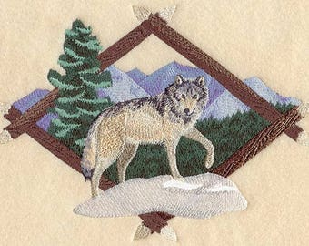WOLF EMBROIDERY on Men's Tee or Sweat by Rosemary