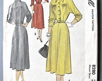 ON SALE McCall 8280 ©1950 Misses' Dress  Dress with Yoke Details, Sleeve Variations Vintage Sewing Pattern Bust 30 inches