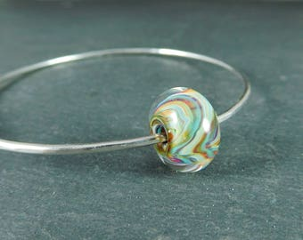 Sterling Silver Bangle Bracelet, Stacking Bracelet, Mint Green Orange Purple Glass Bracelet, Simple Hammered Silver Bracelet, Lampwork