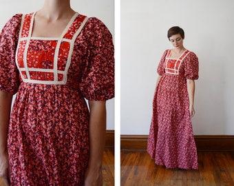 1970s Floral Folk Maxi Dress - S