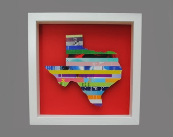 custom STATE shadowbox- you choose your own state, colorful, blue, green, red, purple, pink, yellow, orange, square frame, colorful, bright