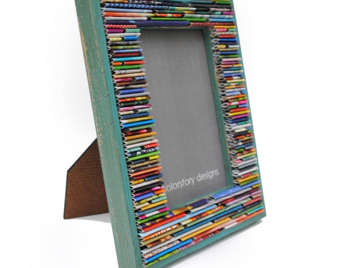 Featured listing image: colorful 4X6 picture frame - made from recycled magazines, weathered teal frame, blue, green, red, purple, pink, yellow, orange, rustic