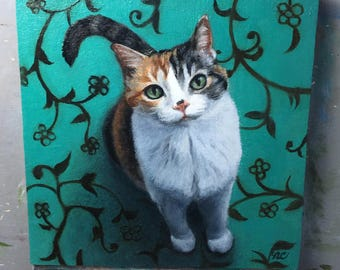 Expectant Calico 05 - Original Cat Painting by Nancy Cuevas - LIttle Kitty Paintings