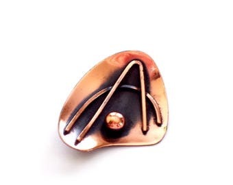 Vintage Copper Pin, Modernist Abstract Pin Brooch, Modernist Copper Jewelry, MCM Jewelry, Mid Century Modern Pin, Copper Jewellery